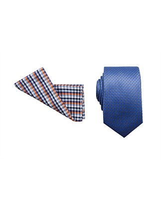 TIE & POCKET SQUARE SET - GEOMETRIC/CHECK