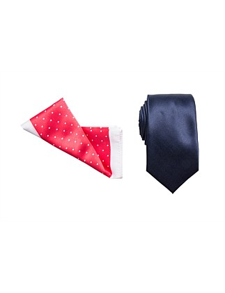 TIE & POCKET SQUARE SET - PLAIN/SPOT BORDER