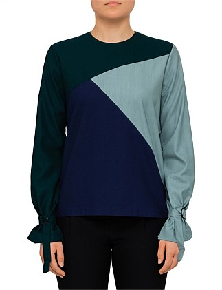 Panelled Long Sleeve Top