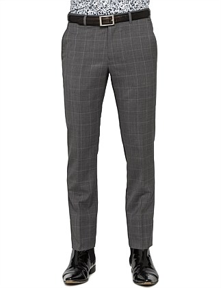 WOOL BLUE WIND CHECK TROUSER