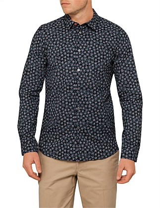 Slim Fit Alpine Star Floral Print L/S Casual Shirt