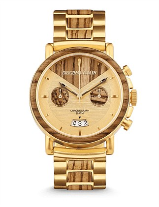 Chronograph Gold Zeabrawood Watch