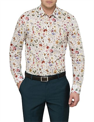COTTON FLORAL ROSE PRINT SHIRT