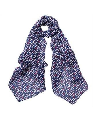 Spot Printed Oblong Silk Scarf