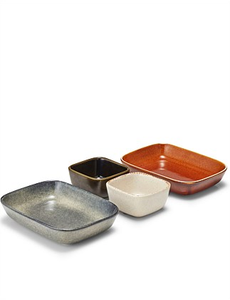 BENTO 4PC SERVING SET X2  RECT. DISHS 20X15CM, X2 BOWLS
