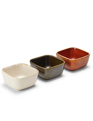 BENTO 3PCS SERVING SET X3 DIP BOWLS 10X10CM