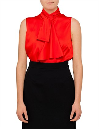 Sleeveless Silk Bow Top