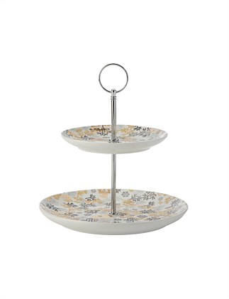 Yuletide 2-Tier Cake Stand Evergreen Gift Boxed