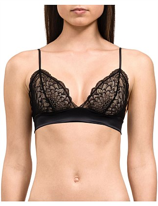 Ck Black Fan Floral Unlined Triangle Bra