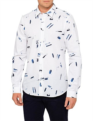 Tailored Fit  Bursh Stroke Print L/S Casual Shirt