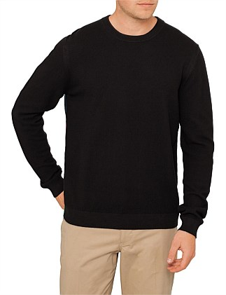 Diagonal Operated Cotton Crew Neck Knit