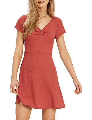 HARPER RIB FIT & FLARE DRESS