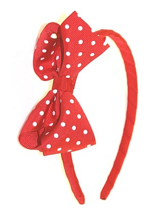 Girls Polka Turned Bow Alice Band
