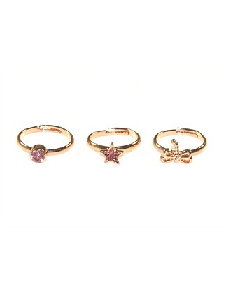 Girls Dragonfly Diamante 3 Ring Set
