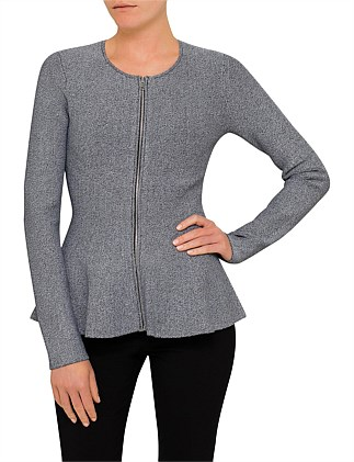 MARL PEPLUM KNIT JACKET