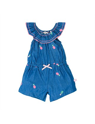 MAUI DENIM PLAYSUIT W PINEAPPLE EMBROIDERY