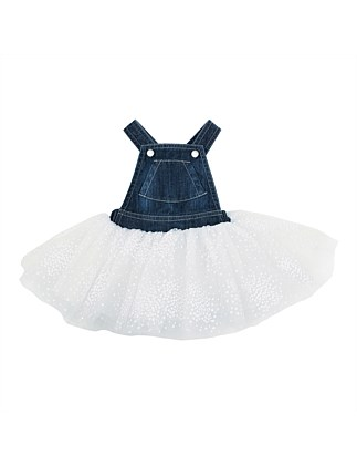 HOLLAND DENIM OVERALL DRESS W TULLE