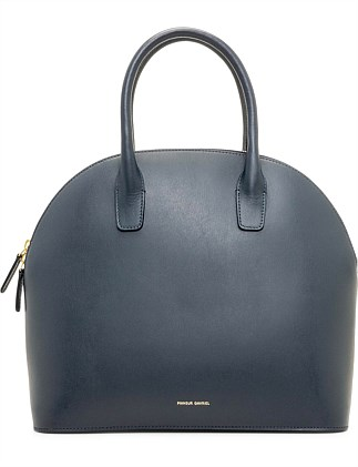 Top Handle Rounded Leather Bag