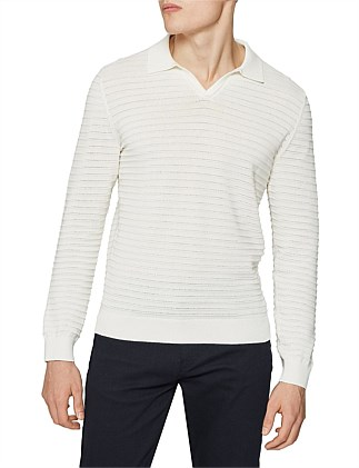 Patterson Ls Textured Stripe Cuban Collar