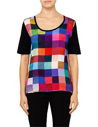 WOMENS TSHIRT JERSEY BACK MULTI CHECK FRONT