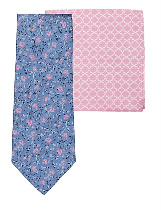 FLORAL TIE & GEO POCKET SQ