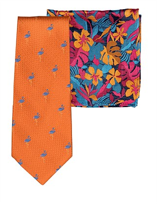 FLAMINGO TIE & FLORAL POCKET SQ