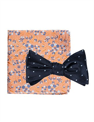 BOWTIE/HANK SET - SPOT BOW AND FLORAL POCKET SQ