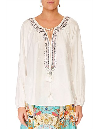 SOLID WHITE TIE FRONT HIGH LOW HEM BLOUSE