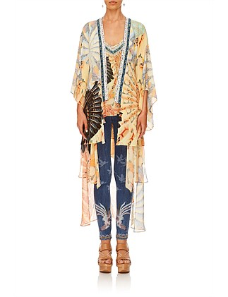 FOR THE FANS KIMONO WITH LONG UNDERLAYER