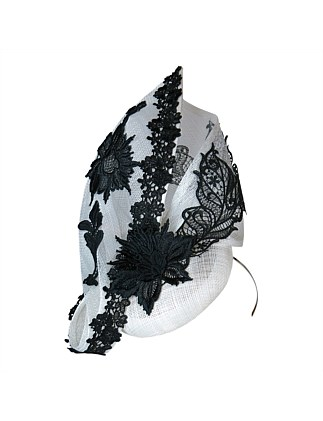 Sinamay beret and twist with lace