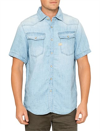422940fdf76 3301 straight chambray shirt s s Special Offer. G-Star