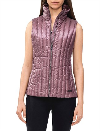 DOWN FILLED VEST WITH DETACHABLE HOOD