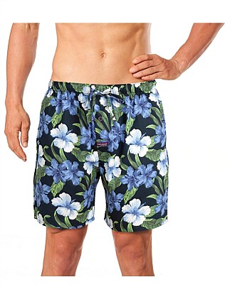 BLUE HIBISCUS PRINTED WOVEN SLEEP SHORT