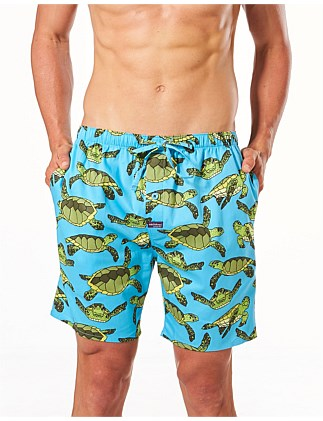 REEF TURTLES PRINTED WOVEN SLEEP SHORT