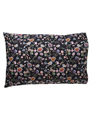 BOUQUET BLACK COTTON PILLOWCASE SET