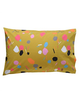 SHAPES MUSTARD COTTON  PILLOWCASE SET