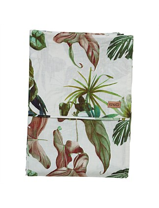 FOLIAGE LINEN QUEEN BED FLAT SHEET