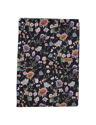 BOUQUET BLACK QUEEN BED FLAT SHEET