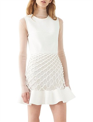HONEYCOMB RUFFLE MINI DRESS