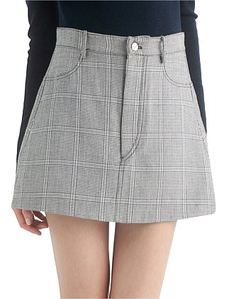 BINARY CHECK MINI SKIRT