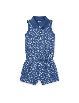 Floral Stretch Mesh Romper(2-7 Years)