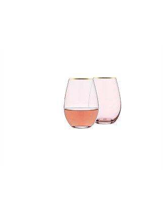 STEMLESS WINE GLASS PINK GOLD RIM 630ML BX2