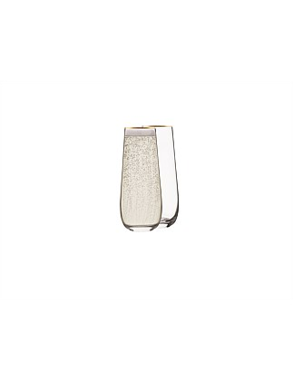 STEMLESS CHAMPAGNE CLEAR GOLD RIM 270ML BX2