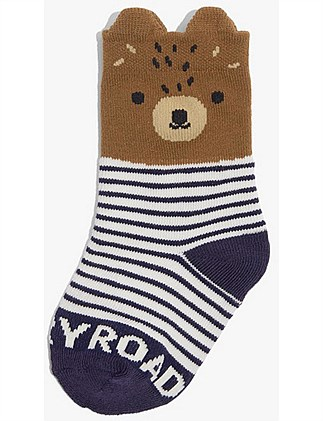 Bear Face Socks (Baby Boys 0-2)