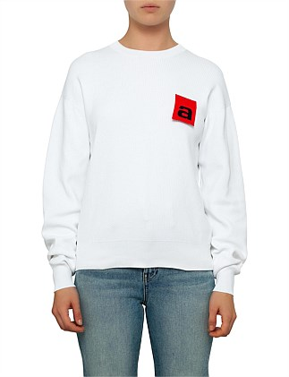 MESH LONG SLEEVE PULLOVER WITH LOGO FLAG