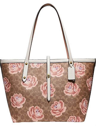 COATED CANVAS SIGNATURE ROSE PRINT MARKET TOTE