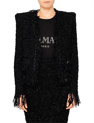 COLLARLESS FRINGED JACKET