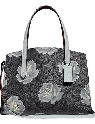 COATED CANVAS SIGNATURE ROSE PRINT CHARLIE 28 CARRYALL