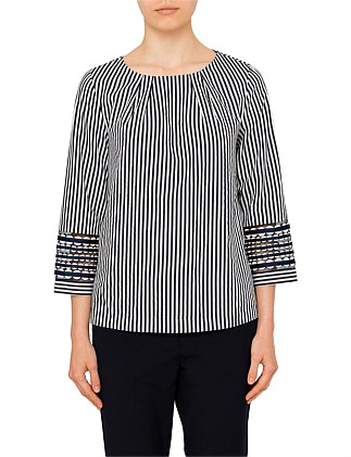 ELFI LONG SLEEVE COTTON STRIPE TOP