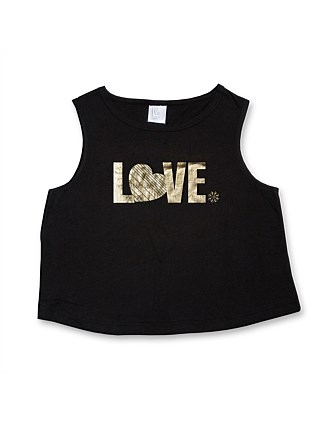 "Cropped Muscle Tank ""Love"" (Girls 8-14 Yrs)"